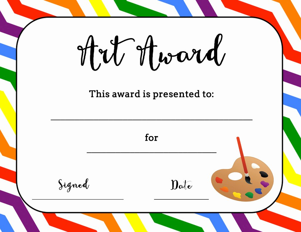 Free Printable Award Certificates Fresh Art Award Certificate Free Printable