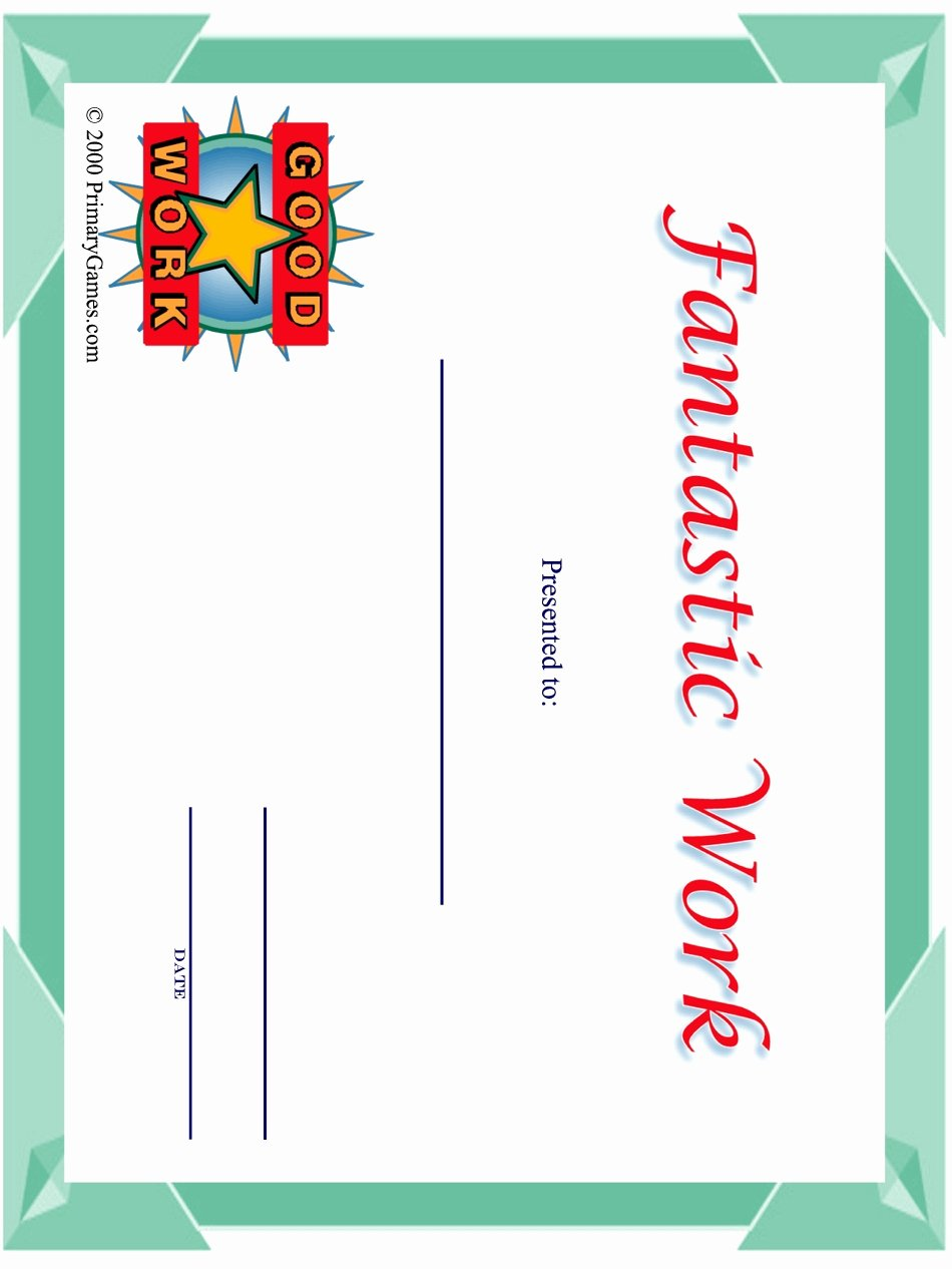 Free Printable Award Certificates Inspirational Award Certificates Primarygames Free Printable