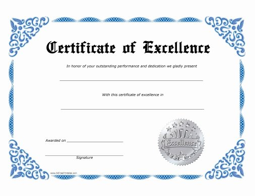 Free Printable Award Certificates Inspirational Excellence Certificate Free Printable Allfreeprintable