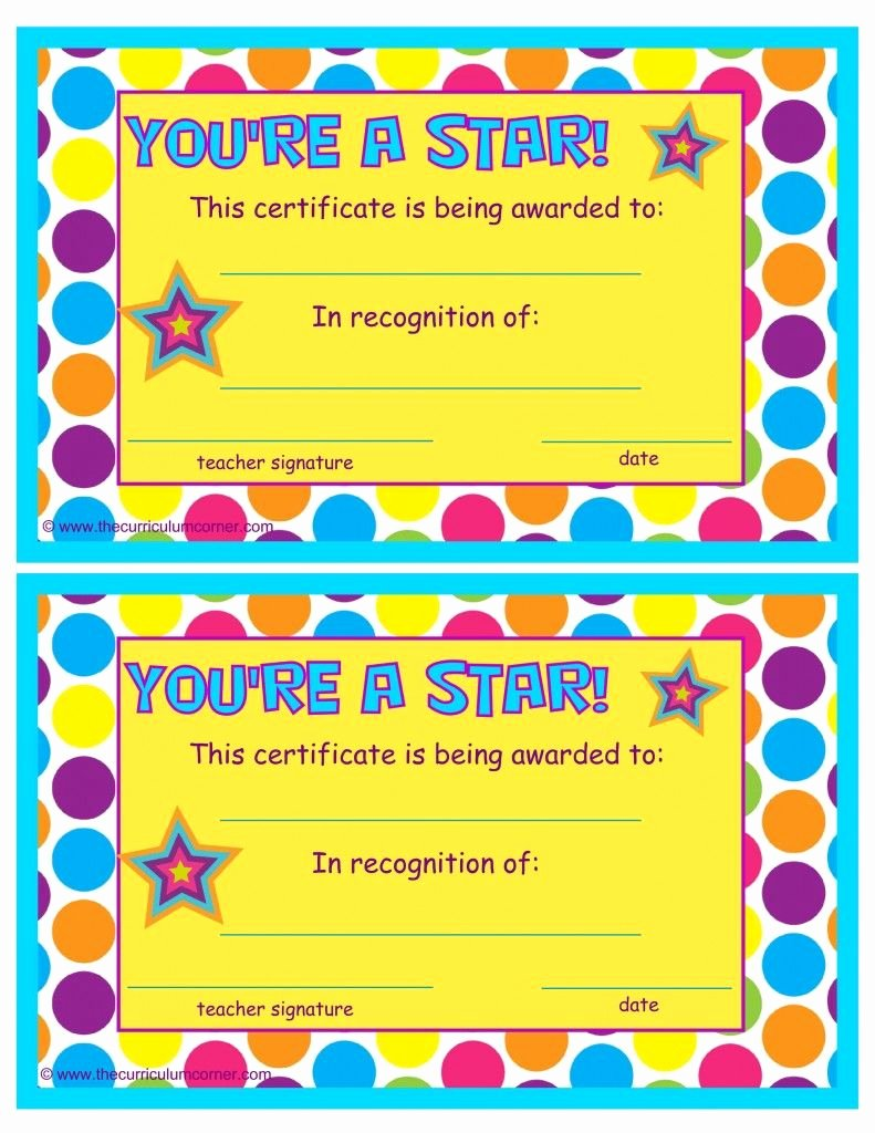 Free Printable Award Ribbons New You Re A Star End Of the Year Certificates