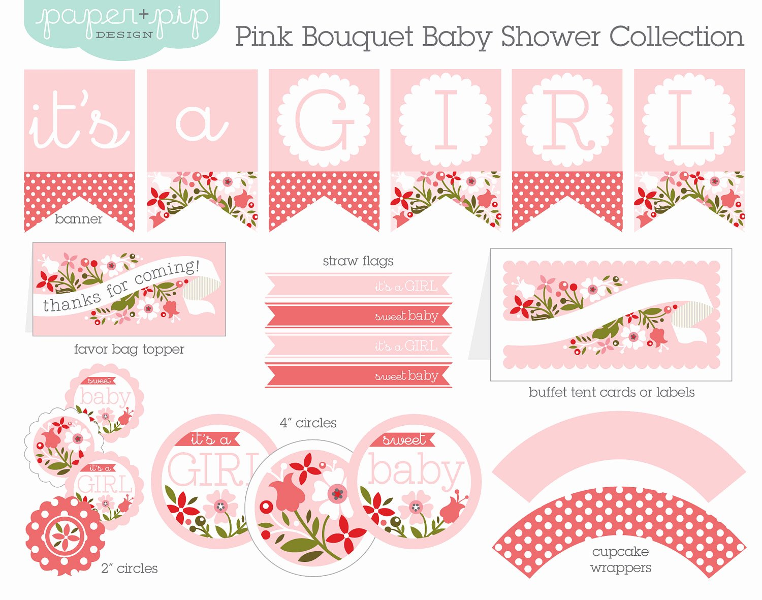 Free Printable Baby Shower Labels Inspirational Baby Shower Decorations Printable Pink Bouquet by Paperandpip