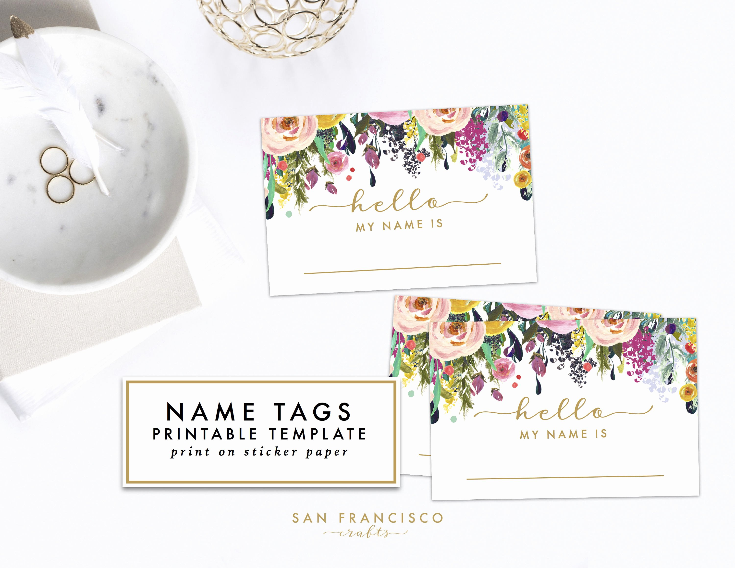 Free Printable Baby Shower Tags Beautiful Printable Floral Name Tag Bridal Shower Baby Shower