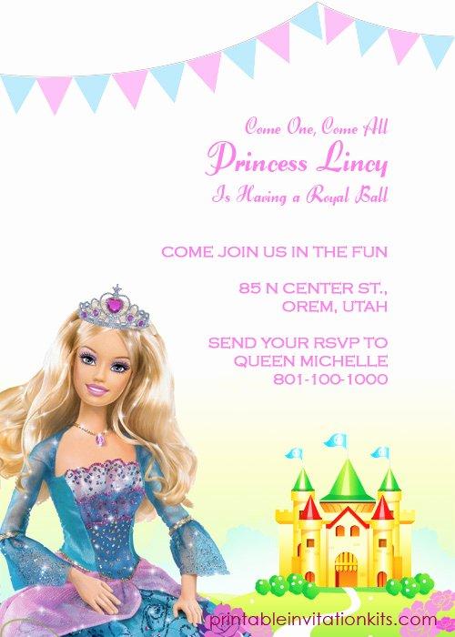 Free Printable Barbie Invitations Awesome Barbie Princess Birthday Invitation Template ← Wedding