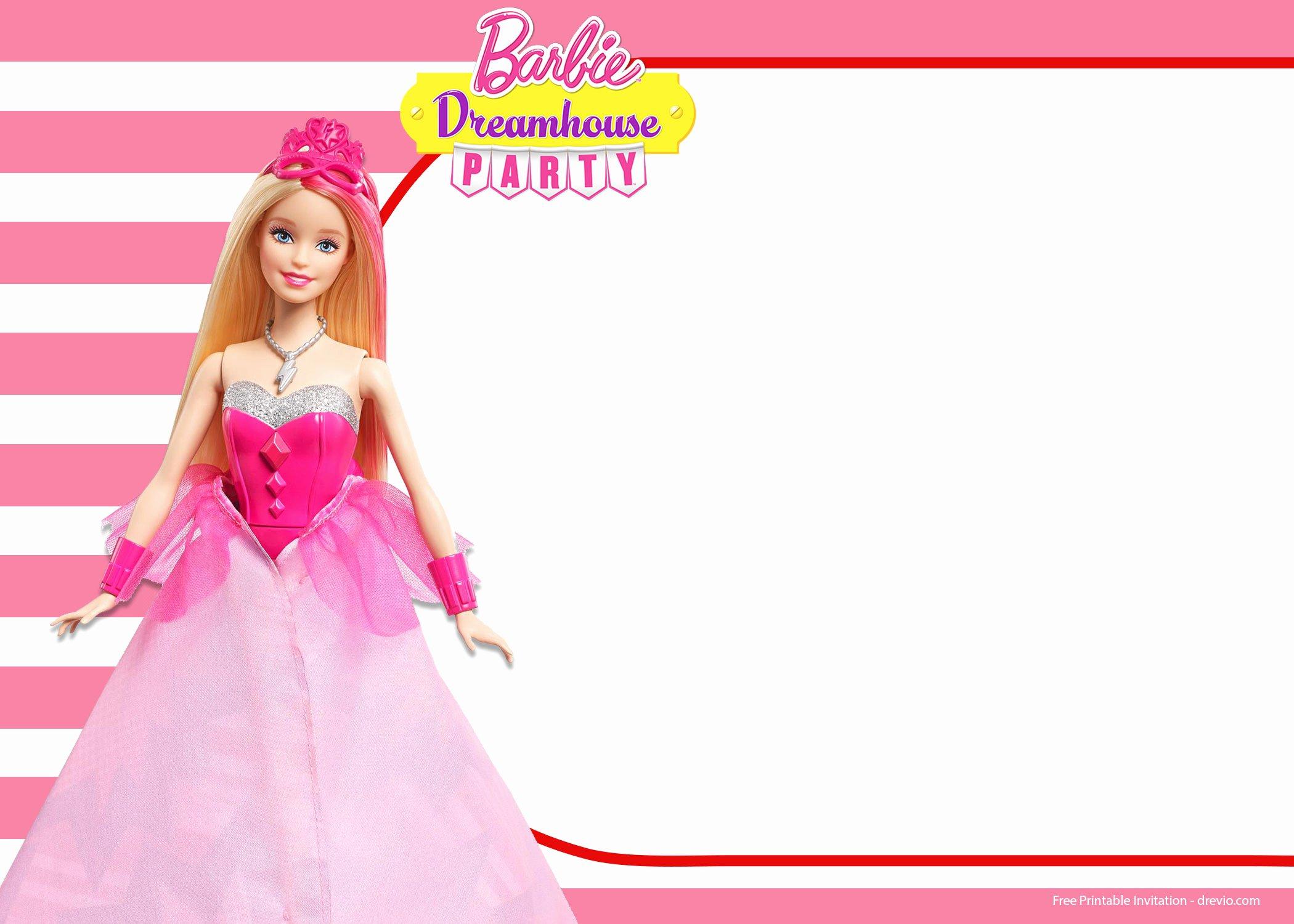 Free Printable Barbie Invitations Elegant Free Barbie Birthday Invitation Templates