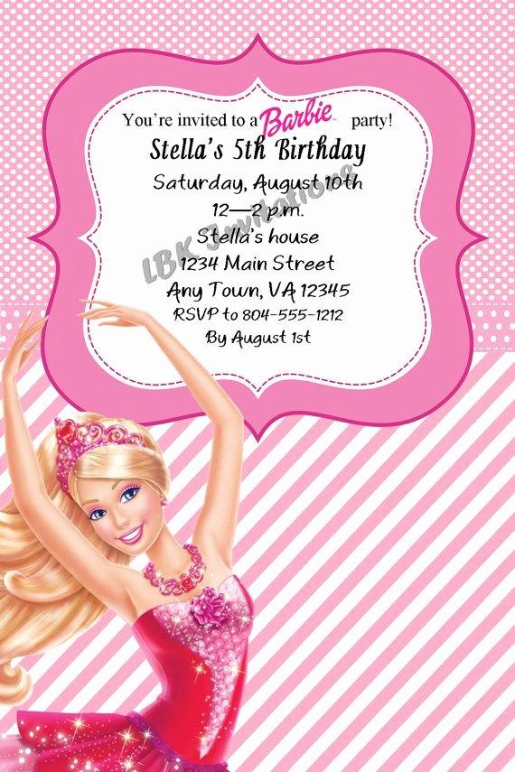 Free Printable Barbie Invitations Inspirational Custom Barbie Birthday Invitation On Etsy $12 00