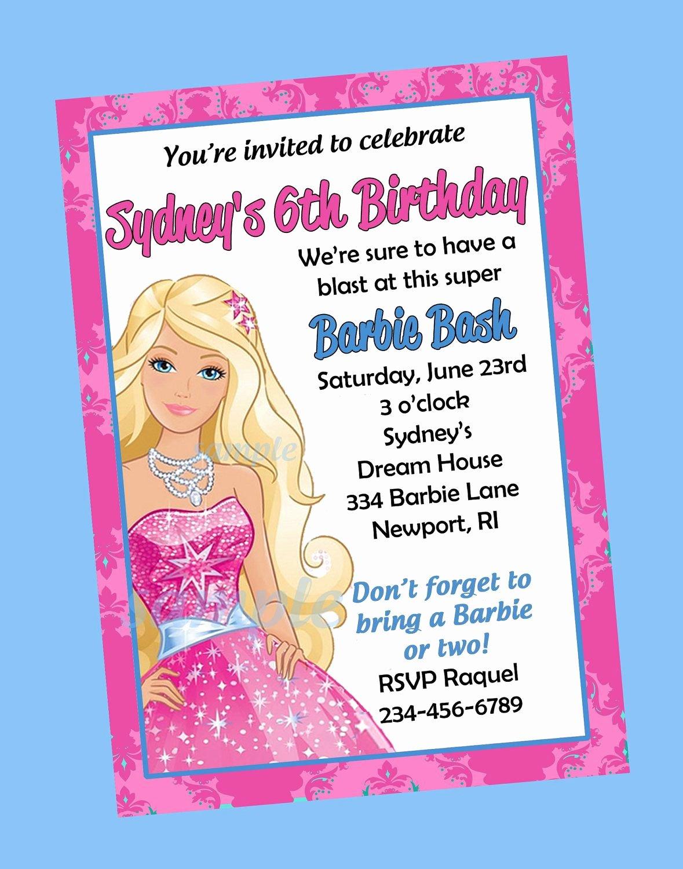 Free Printable Barbie Invitations Luxury Free Print Barbie Invitations