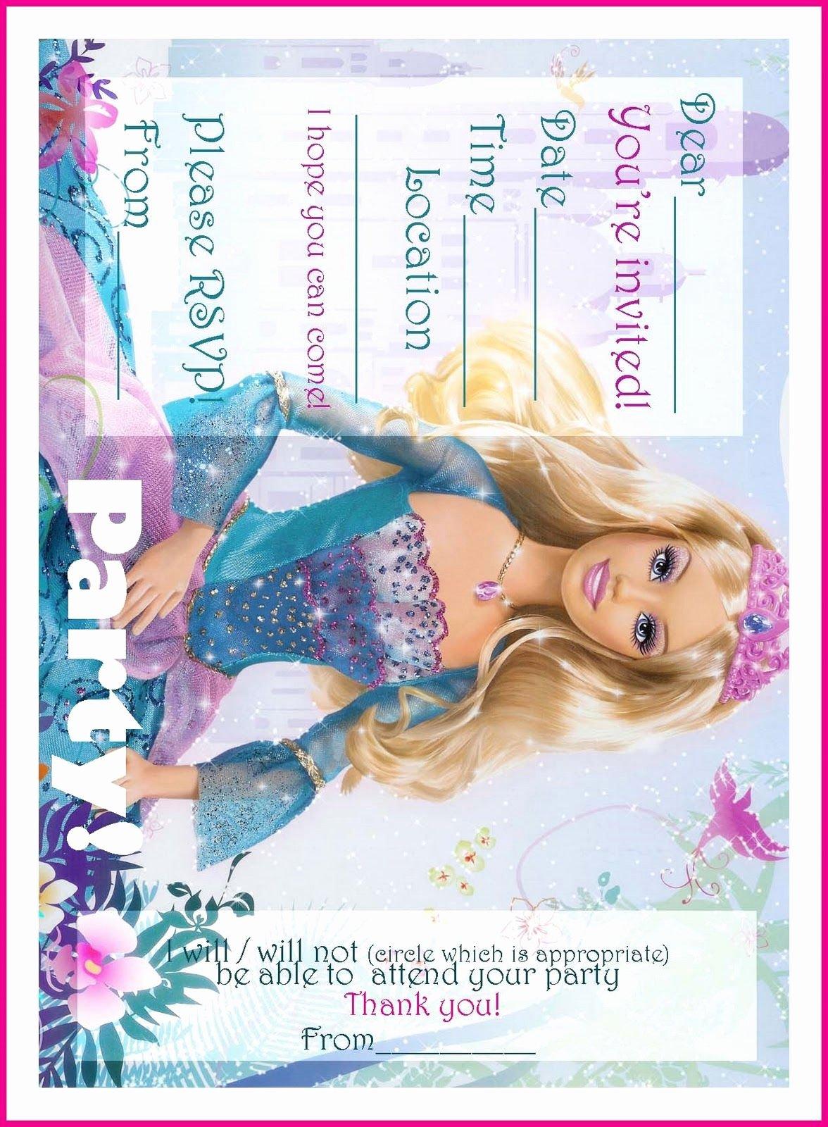 Free Printable Barbie Invitations New Barbie Coloring Pages Free Printable Princess Barbie