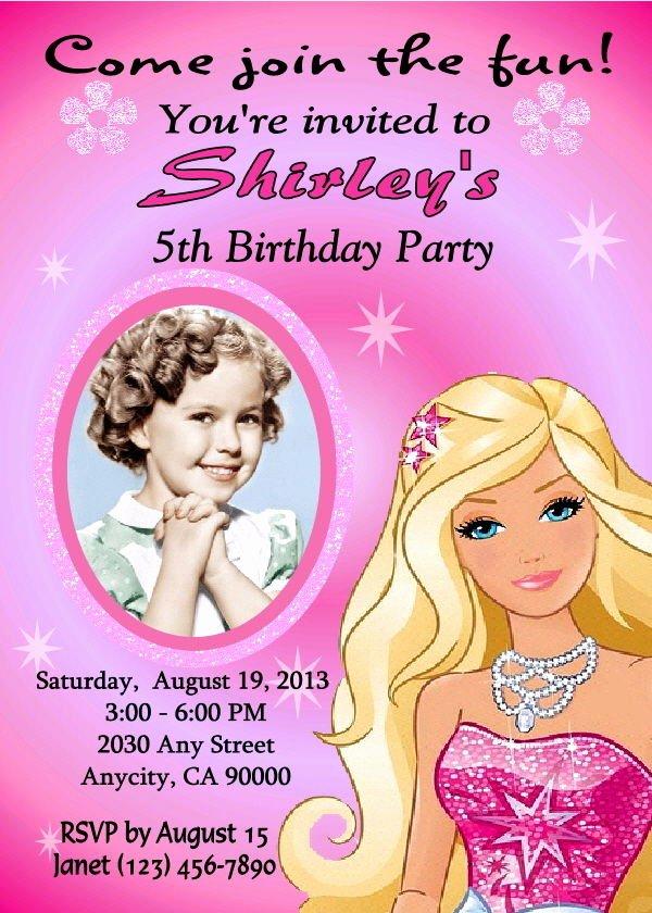 Free Printable Barbie Invitations New Barbie Custom Printable Birthday Party Invitation and Free