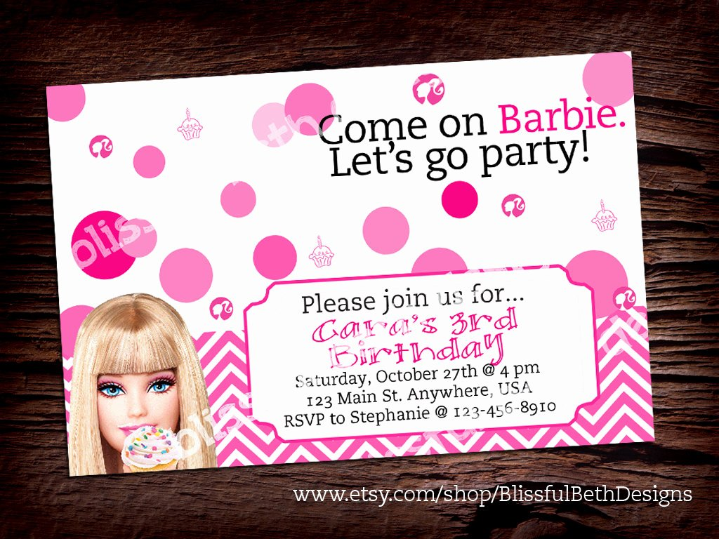 Free Printable Barbie Invitations New Personalized Barbie Invitation Printable by