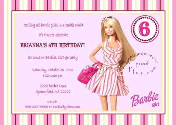 Free Printable Barbie Invitations Unique Items Similar to 5x7 Barbie Milestone Birthday Invitation