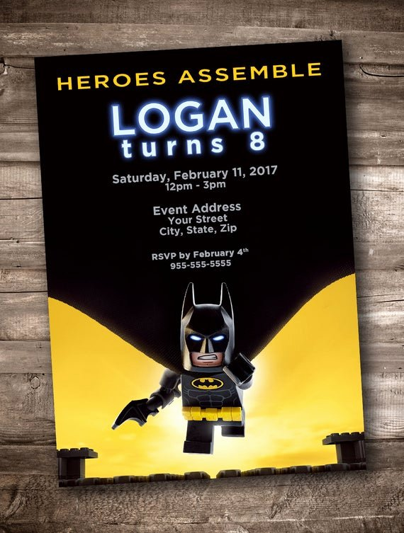 Free Printable Batman Invitations Beautiful Lego Batman Party Invitation Personalized Digital Printable