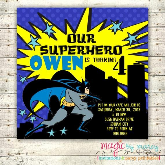 Free Printable Batman Invitations Best Of Digital Printable Batman Birthday Invitations Square Cards