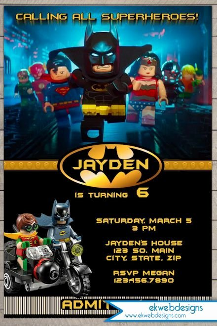 Free Printable Batman Invitations Fresh Custom Lego Batman Movie 2017 Birthday Invitation