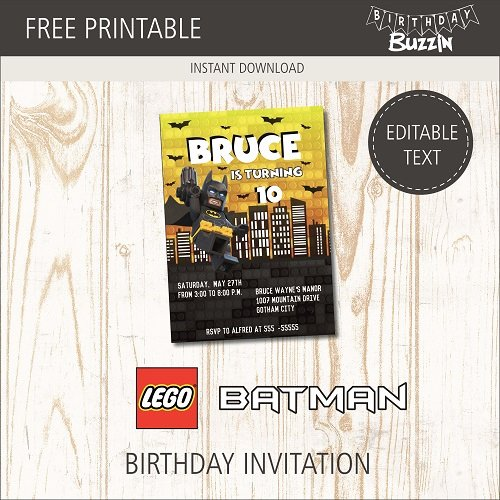 Free Printable Batman Invitations Lovely Free Printable Lego Batman Birthday Invitations