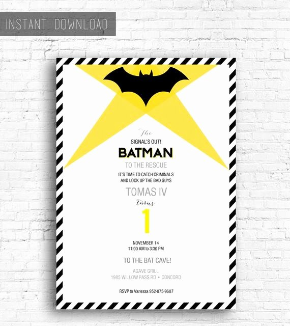 Free Printable Batman Invitations Luxury Batman Birthday Invitation Printable Instant Download