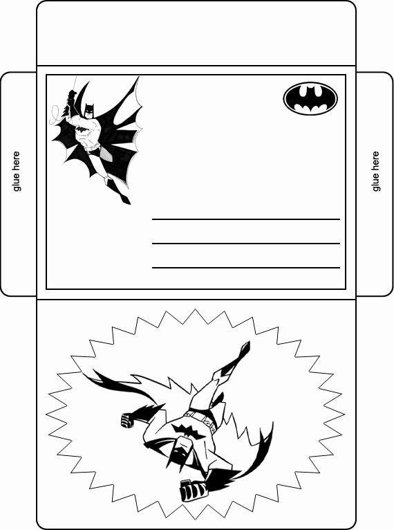 Free Printable Batman Invitations Luxury Batman Birthday Party Envelope Black and White Batman