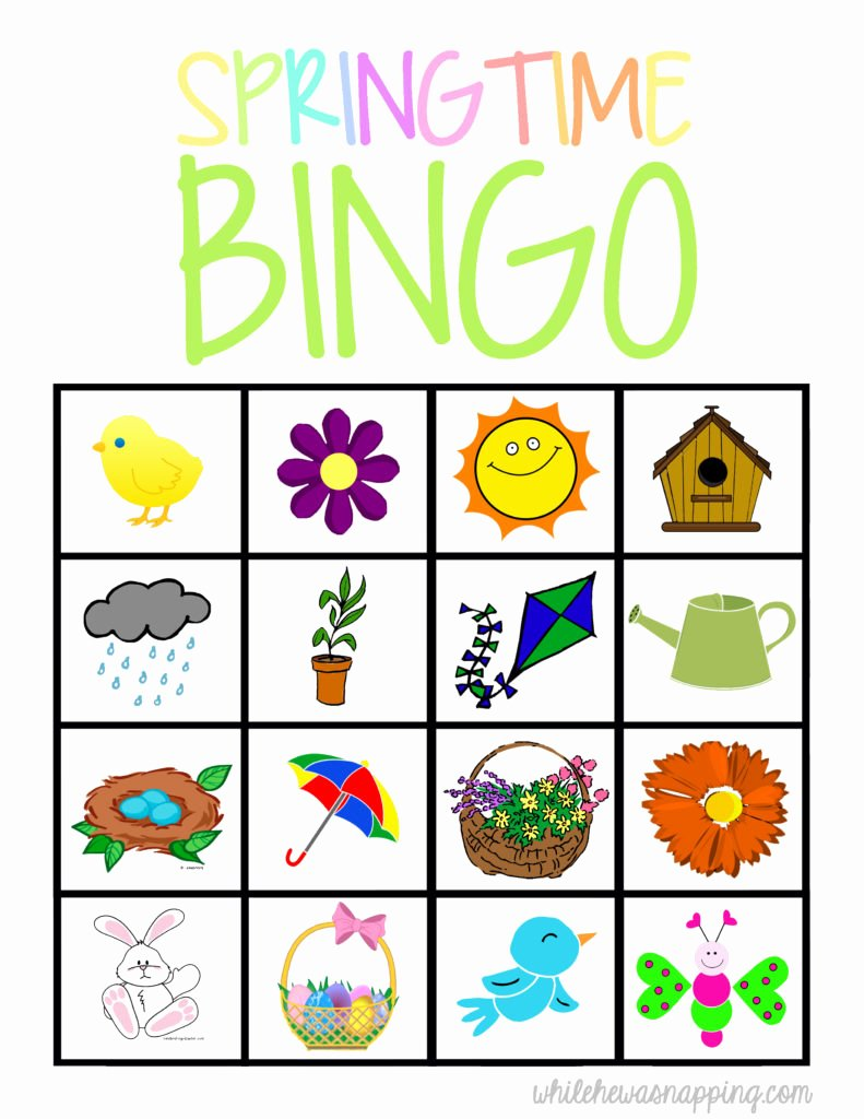 Free Printable Bingo Boards Elegant Springtime Bingo Game Printable