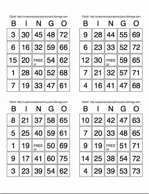 Free Printable Bingo Boards Fresh Print Bingo Cards 4 Sheet