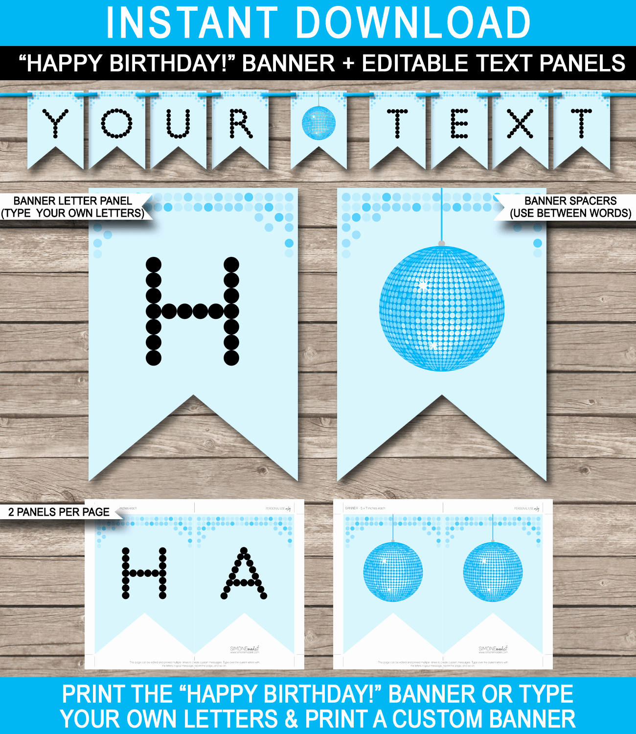 Free Printable Birthday Banner Templates Inspirational Dance Banner Template Blue Disco