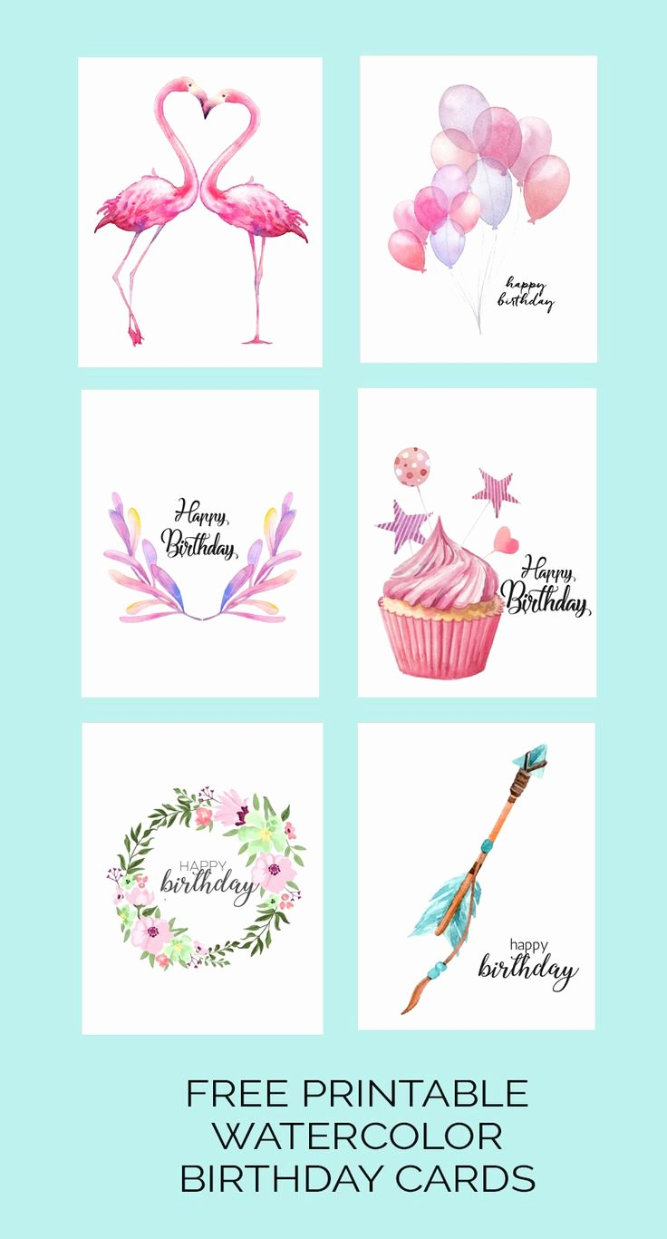 Free Printable Birthday Certificates Awesome Watercolor Birthday Cards Flamingo Balloons Arrow