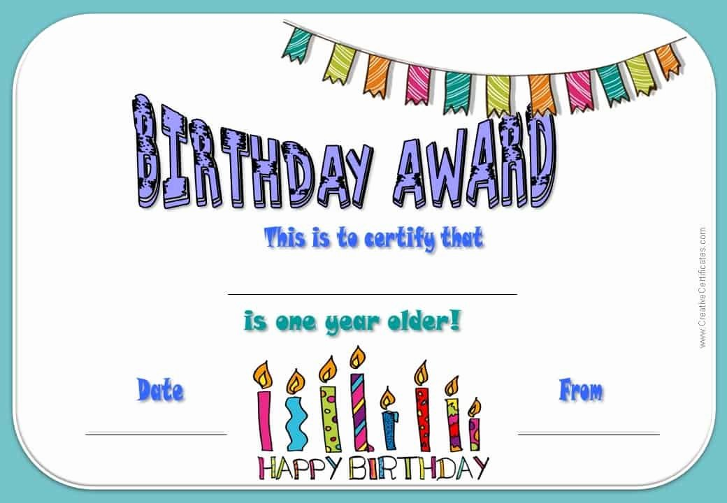 Free Printable Birthday Certificates Beautiful Free Happy Birthday Certificate Template Customize Line