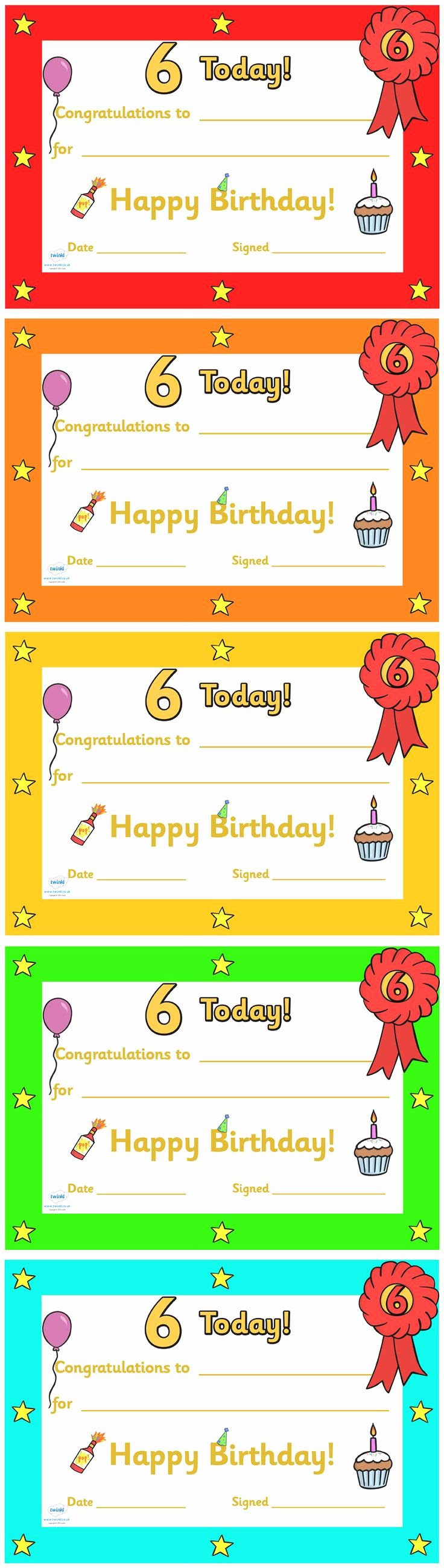 Free Printable Birthday Certificates Fresh Twinkl Resources Editable Birthday Certificates Age 6