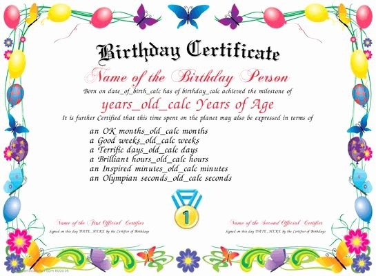 Free Printable Birthday Certificates New Birthday Download and Print A Unique Birthday