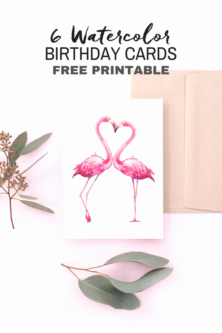 Free Printable Birthday Certificates New Free Printable Watercolor Birthday Cards Flamingo