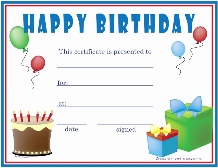 Free Printable Birthday Certificates Unique Free Printable Gift Certificate forms