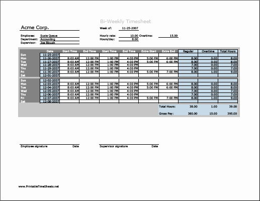 Free Printable Biweekly Time Sheets Awesome Biweekly Timesheet Horizontal orientation with Overtime