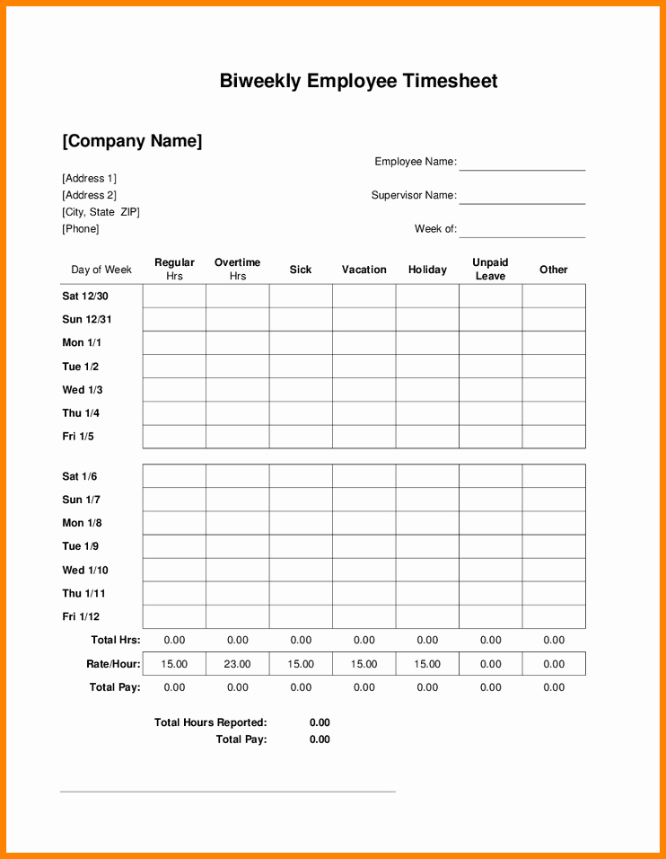 Free Printable Biweekly Time Sheets Elegant 8 Bi Weekly Timesheet Template