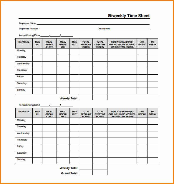 Free Printable Biweekly Time Sheets Inspirational 8 Biweekly Payroll Timesheet Template