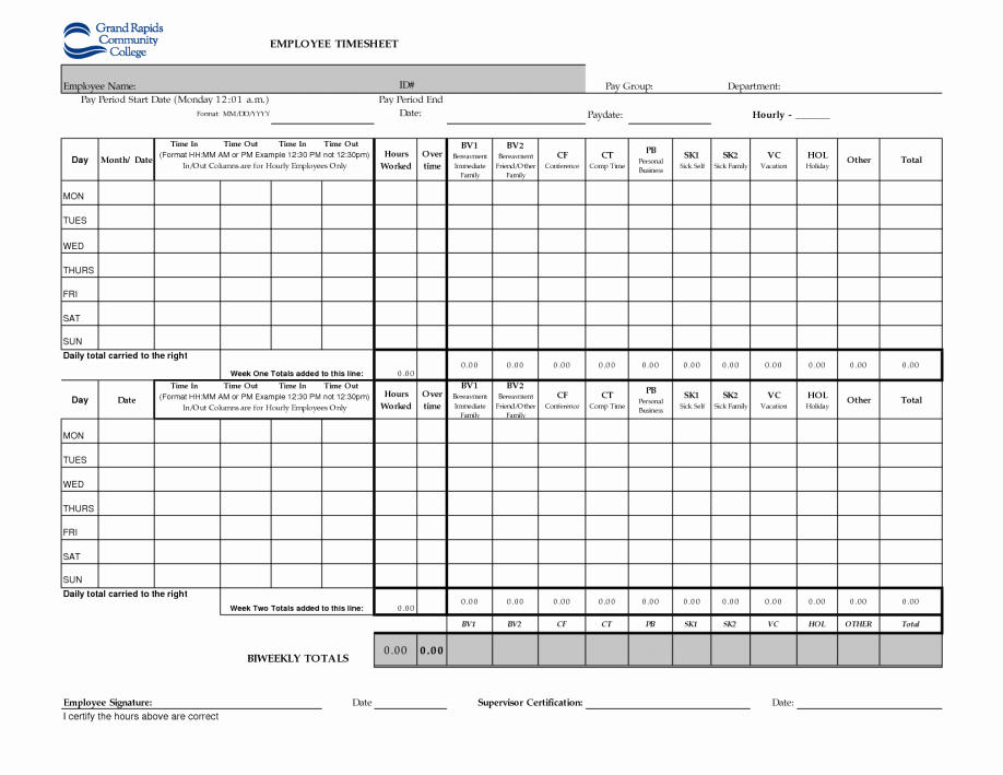 Free Printable Biweekly Time Sheets Unique Printable Time Sheets Weekly form Template Biweekly