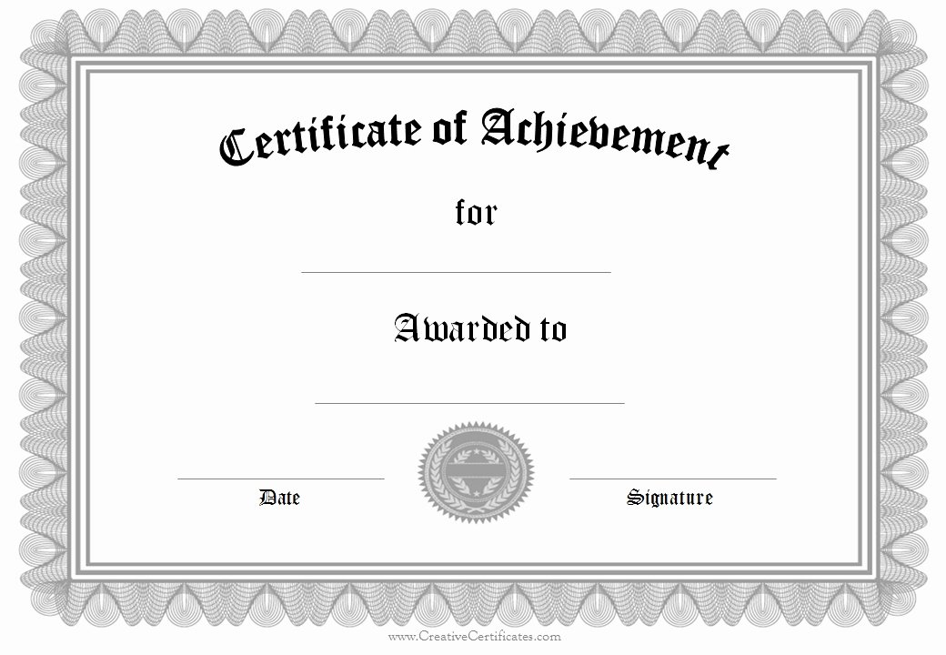 Free Printable Blank Certificates Beautiful Certificate Achievement Template