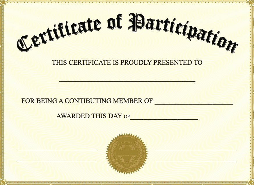 Free Printable Blank Certificates Beautiful Certificate Of Participation Templates