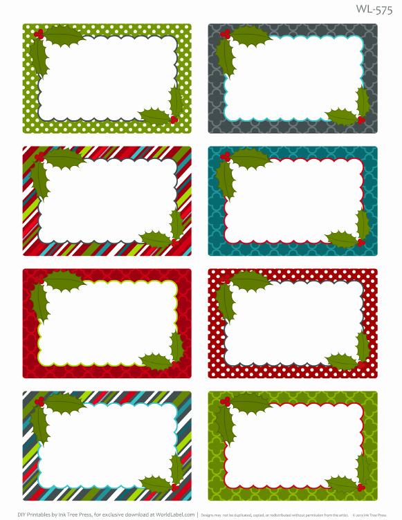 Free Printable Blank Gift Tags New Printable Christmas Labels for Homemade Baking