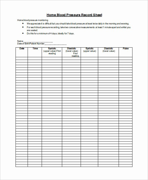 Free Printable Blood Pressure Log Beautiful Blood Pressure Tracking Sheet