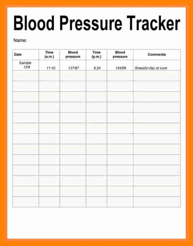 Free Printable Blood Pressure Log Luxury Blood Pressure Recording Chart Printable