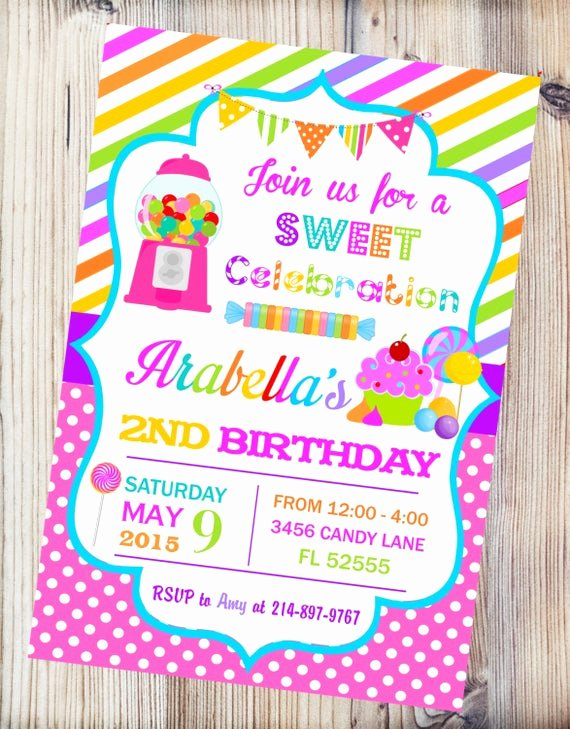 Free Printable Candyland Invitations Beautiful Candyland Printable Invitationcandy Shop Birthday Invitation