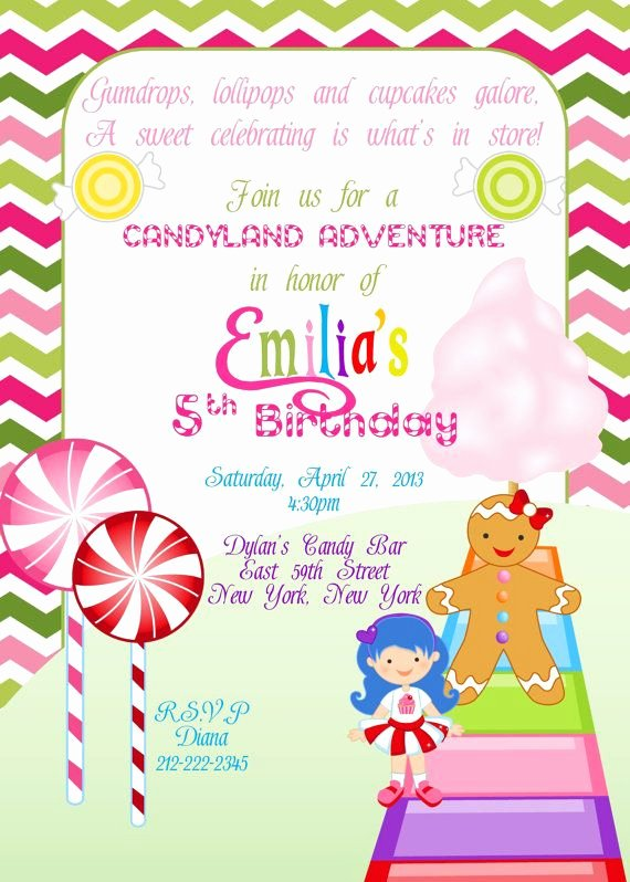 Free Printable Candyland Invitations Beautiful Printable Candy Land Birthday Invitation by