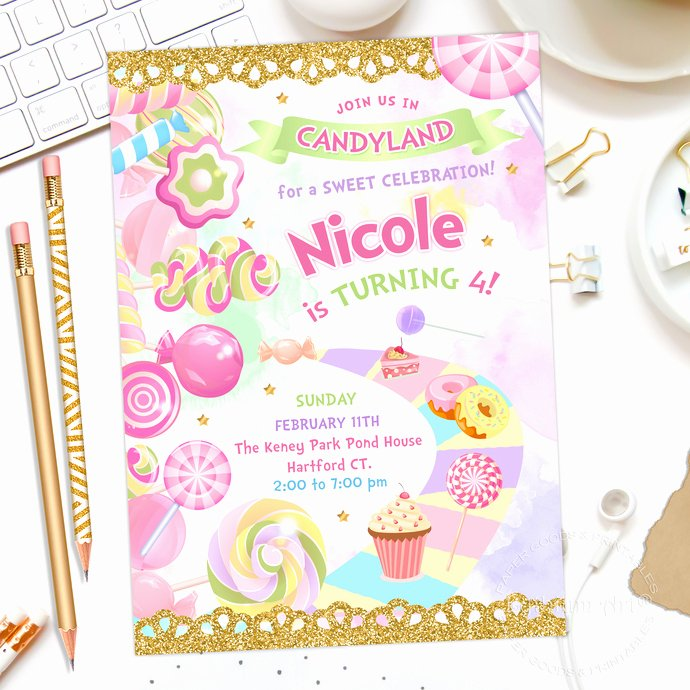 Free Printable Candyland Invitations Best Of Candyland Party Invitation Candy Land Birthday by
