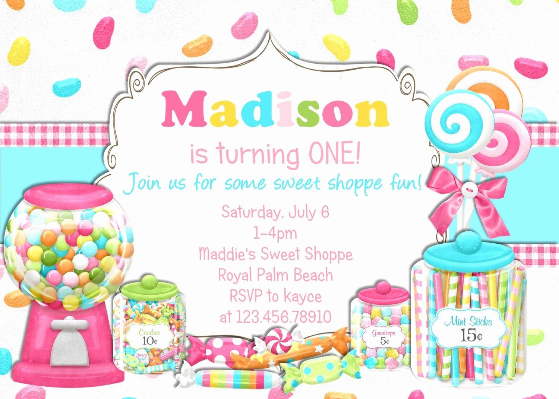 Free Printable Candyland Invitations Elegant Bright Candy Shoppe Birthday Invitation Printable Choose