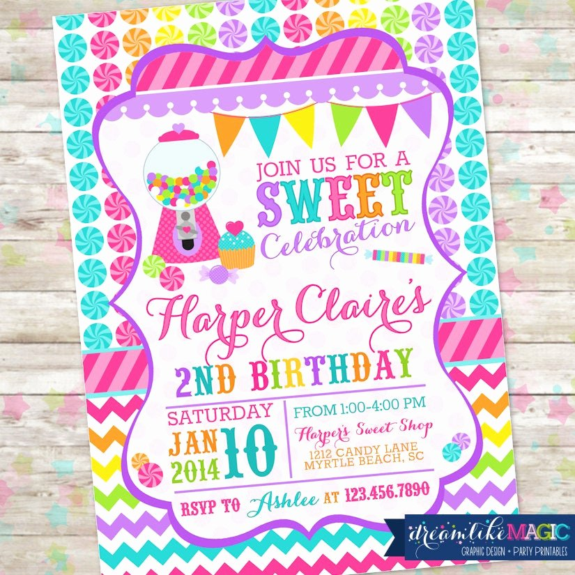 Free Printable Candyland Invitations Inspirational Candyland Invite Sweet Shoppe Sweet Shop Birthday Sweet