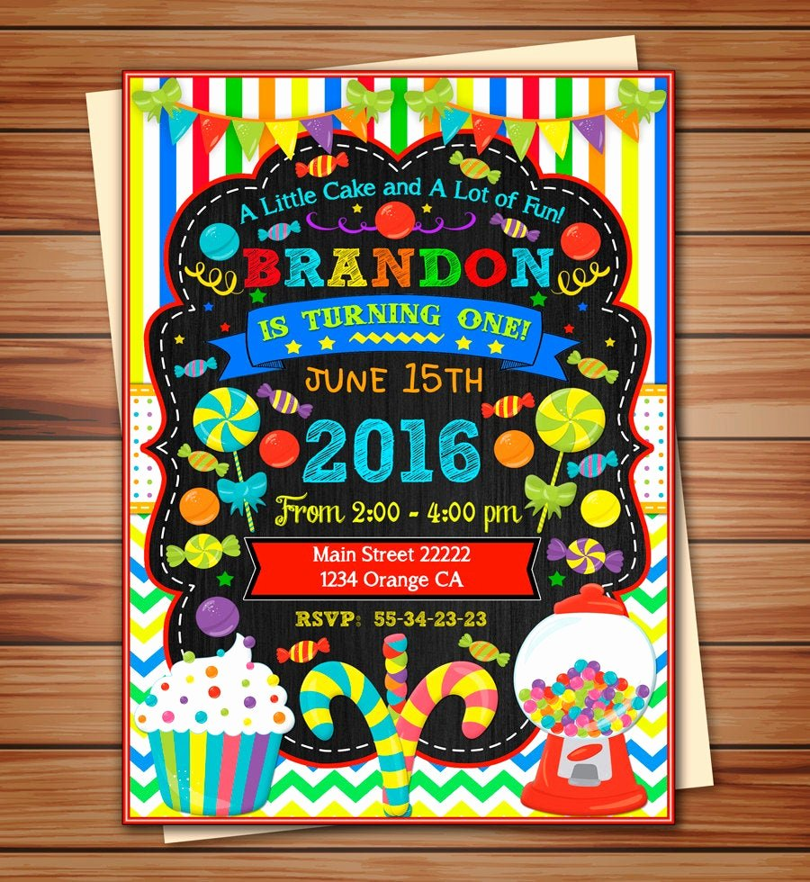 Free Printable Candyland Invitations Inspirational Candyland Party Invitation for Boy Candyland Digital