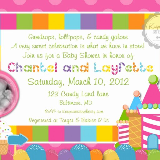 Free Printable Candyland Invitations Inspirational Custom Photo Candyland Baby Shower Invitation