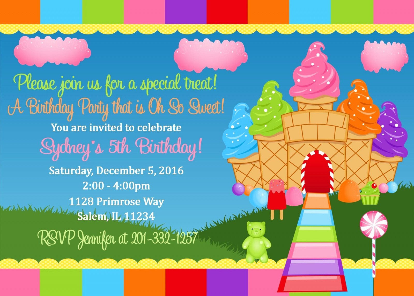 Free Printable Candyland Invitations Luxury Candyland Birthday Invitation