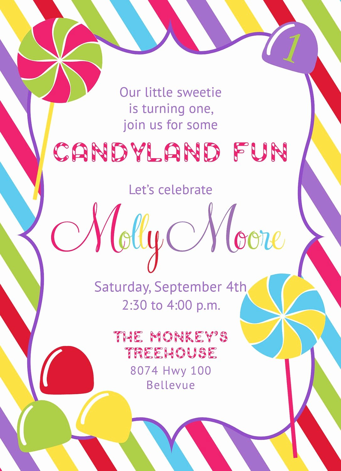 Free Printable Candyland Invitations Unique Candyland Candy Shop Invitation Printable
