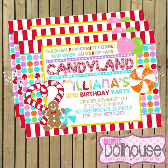 Free Printable Candyland Invitations Unique Candyland Invitation Printable Candy Land by Mimisdollhouse