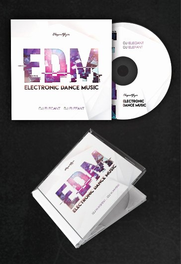 Free Printable Cd Cover Template Best Of Edm – Free Cd Cover Psd Template – by Elegantflyer