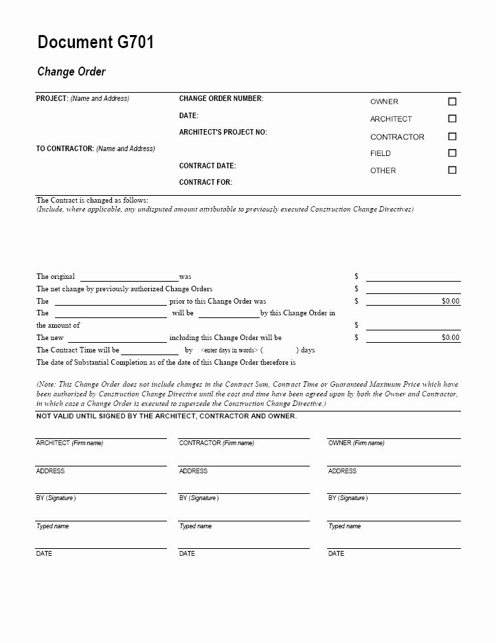Free Printable Change order forms Awesome G701 Change order Cms